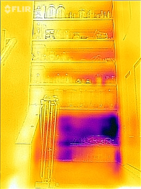 What a missed spot in wall insulation looks like using an infrared camera.