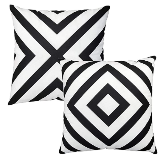 black and white stripe throw pillow covers