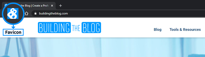 Favicon in browser tab example