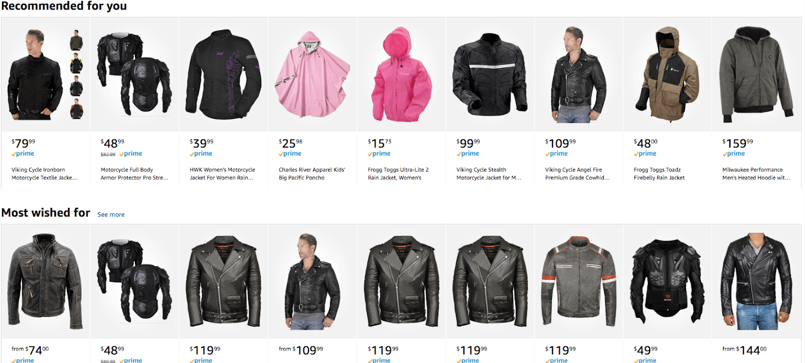 """Amazon """"recommended for your"""" product listings showing the paradox of choice."""