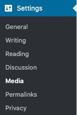 Media menu link in WordPress