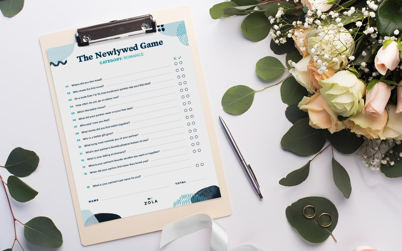 Clipboard displaying newlywed game questions