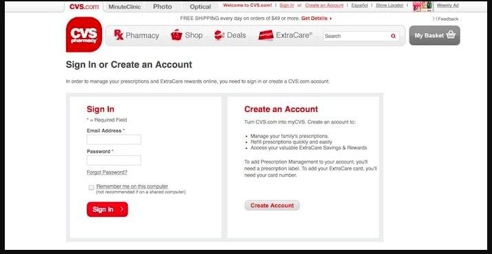 Open CVS website and sign in