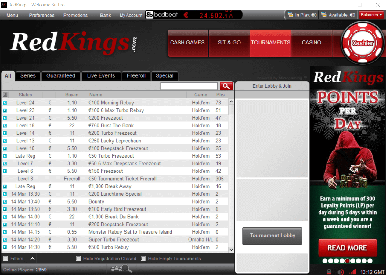 RedKings Poker меню игр