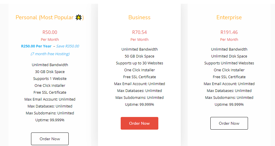 online hosting packages in south africa