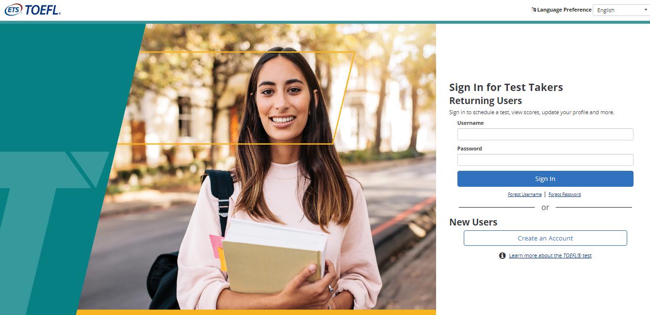 TOEFL Exam Registration Step 1