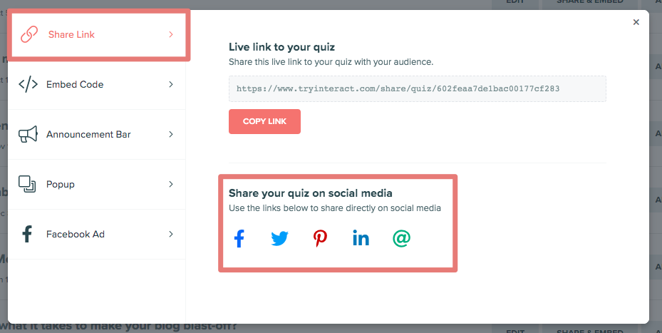 social media options in Interact