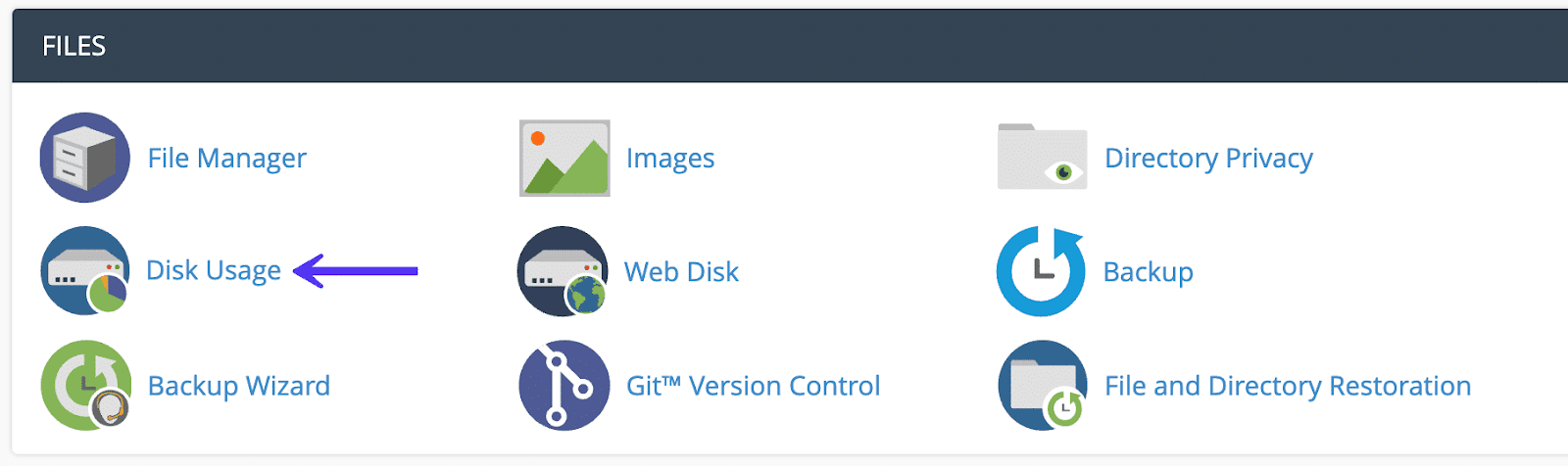 use cPanel disk