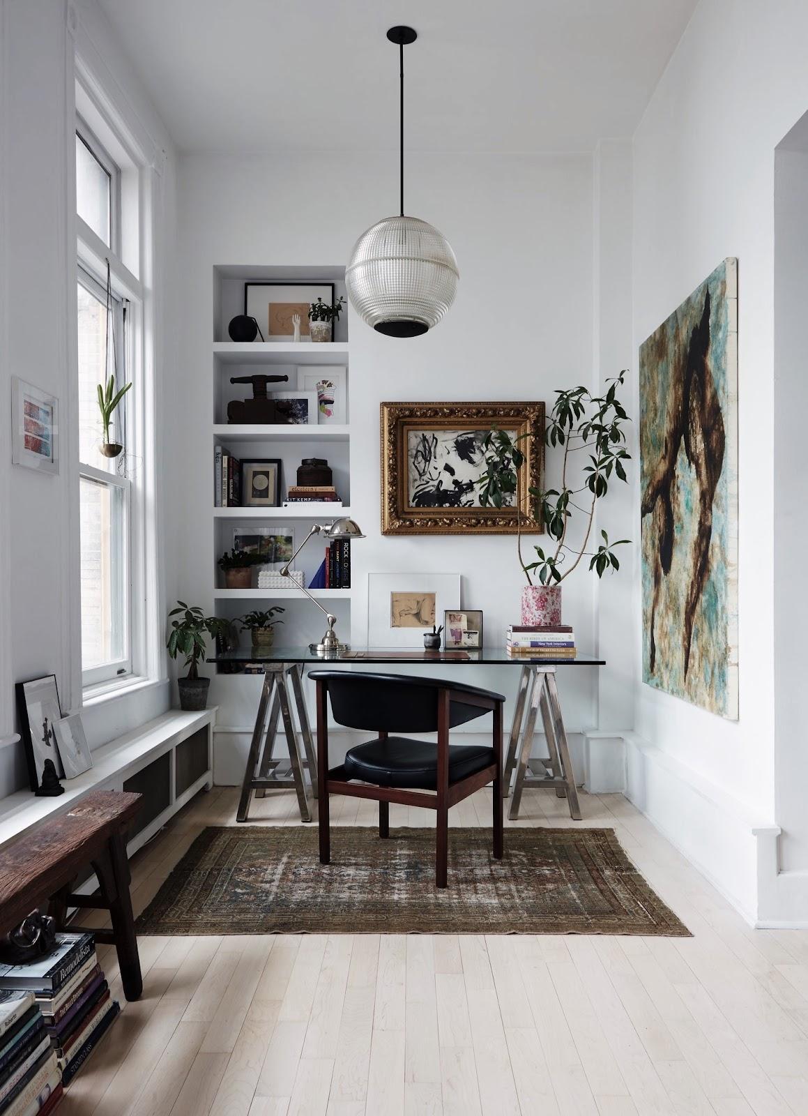 home office design inspiration buckhead built in shelving desk leather chair oversized art rug