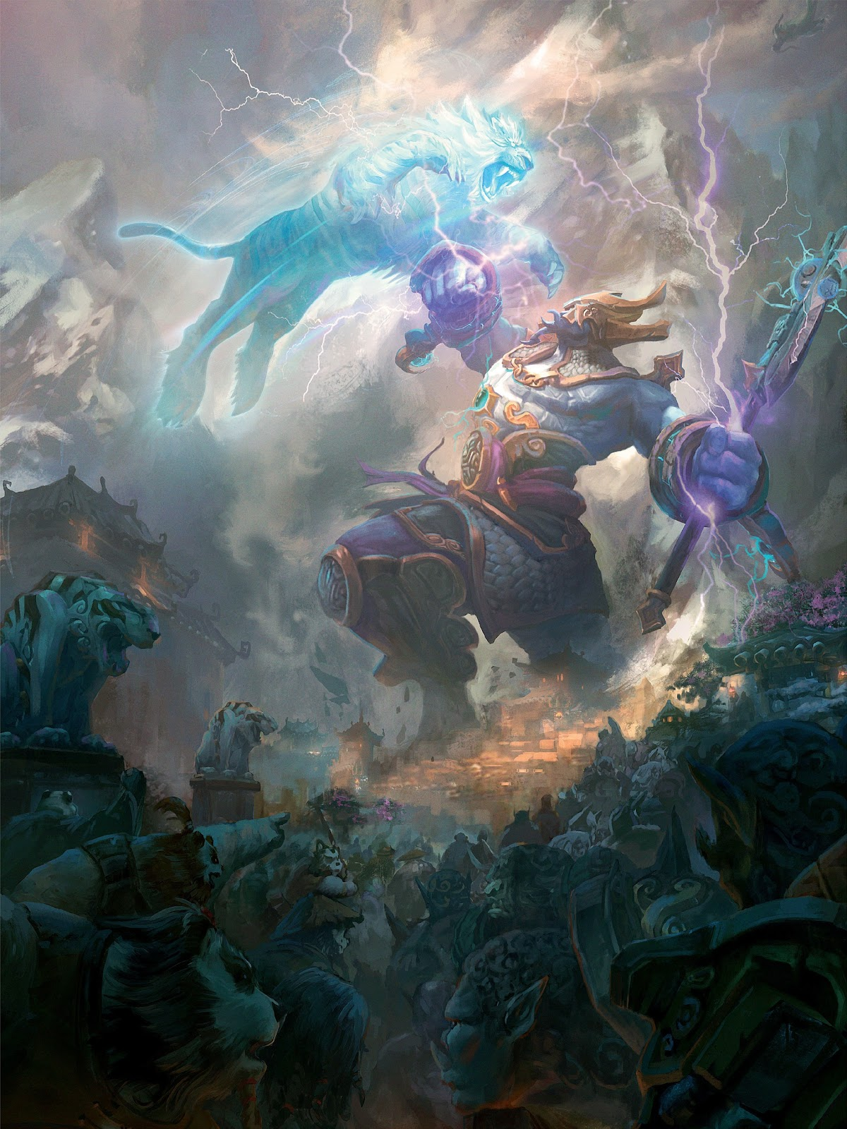 The Thunder King Battles Xuen the White Tiger by Peter Lee.jpg
