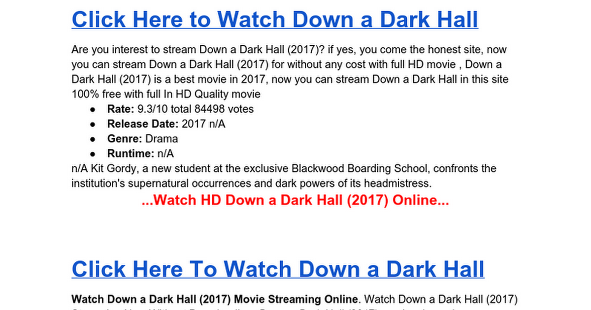 Watch Now Down a Dark Hall HD Full Movie Streaming - Google Docs