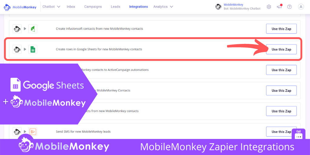 Google Sheets and MobileMonkey Zapier Integration