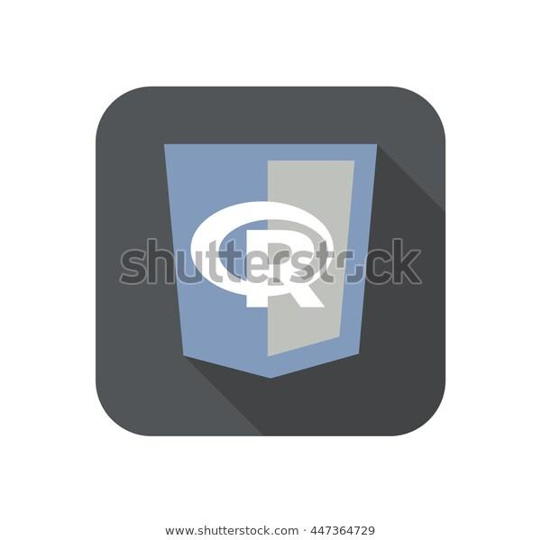 raster round icon of web shield with R letter programming language - isolated flat design illustration long shadow