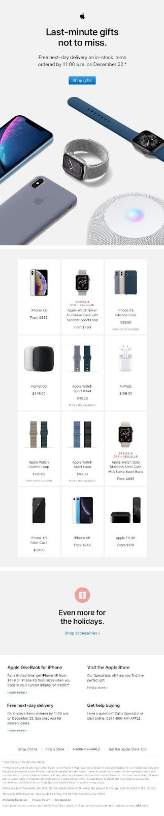 Apple last minute gift ideas email example