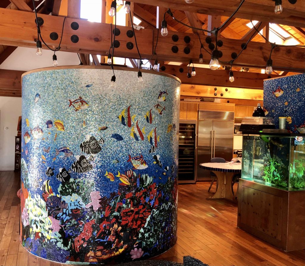 Aquatic Sea Creatures Glass Mosaic by Mozaico