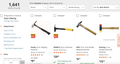 filtered search hammer