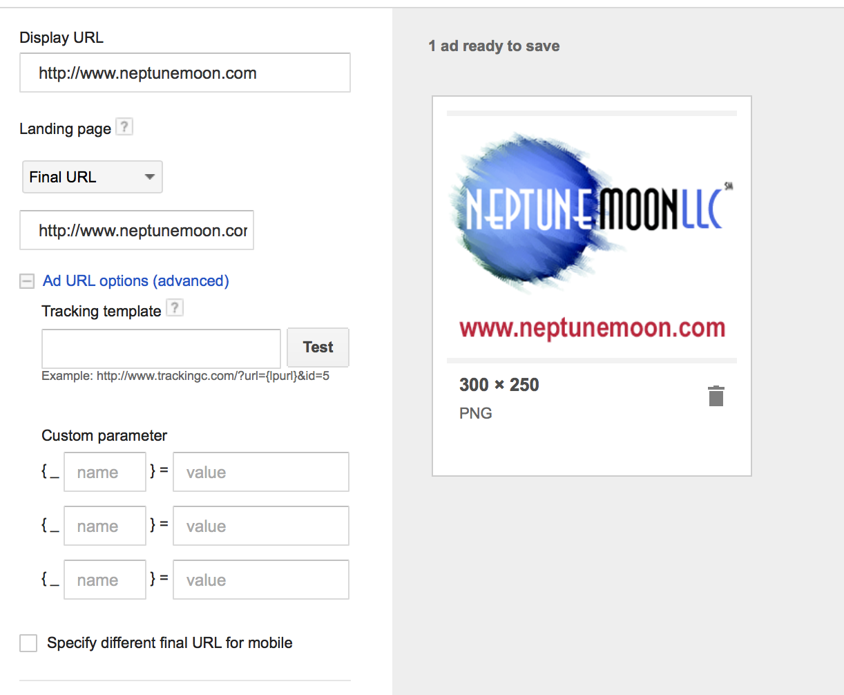 You can set URL tracking parameters