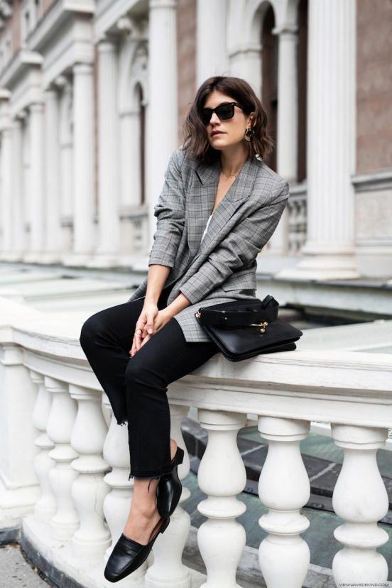 woman in a grey blazer