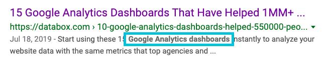 example of bolded keyword in meta description
