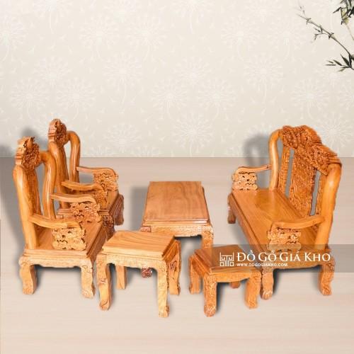 Bàn ghế gỗ gõ đỏ tay 10 chạm tứ linh - BG029