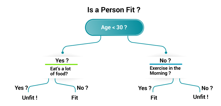 The image is showing the example of the decision tree model to find out the fitness of a person on the basis of some attributes.
