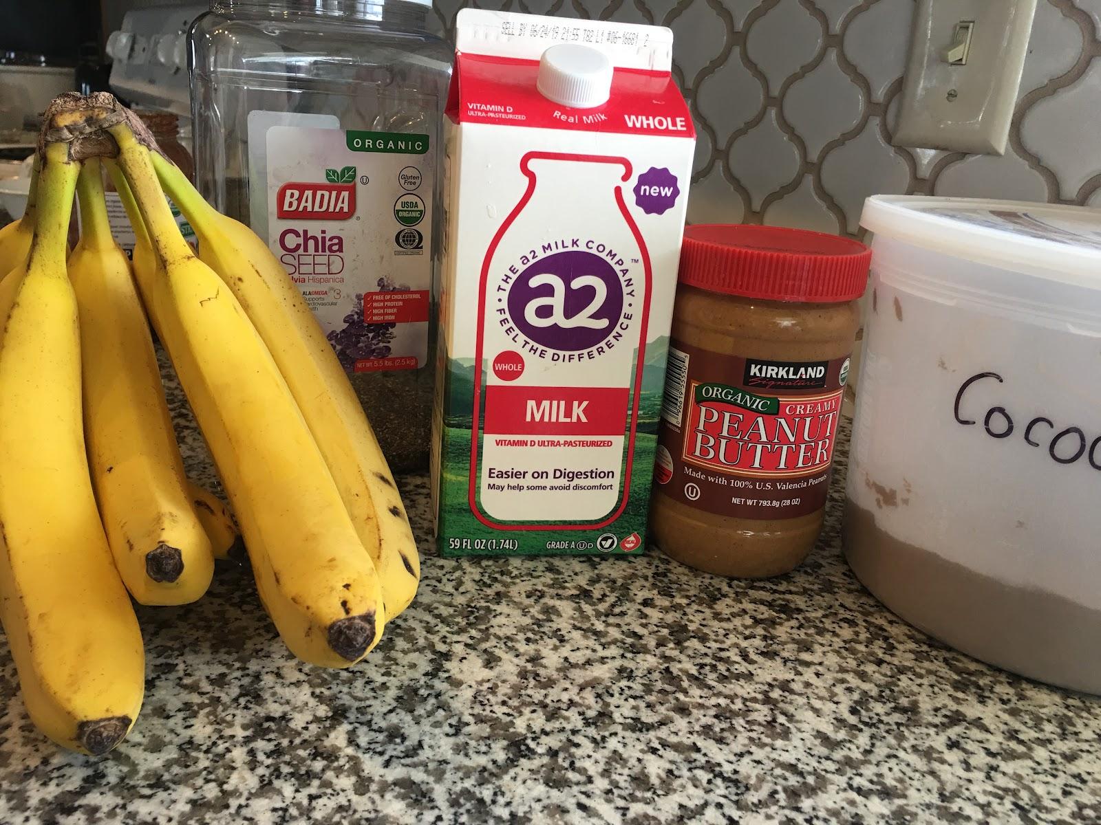 Ingredients for Healthy Chocolate PB Milkshake Recipe