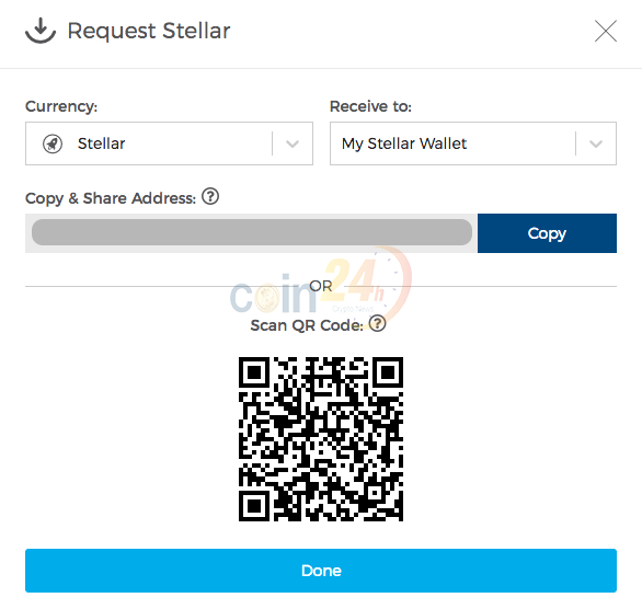 Hướng dẫn sử dụng XLM trên ví blockchain.com