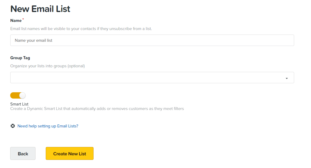 New email list window in ClickFunnels