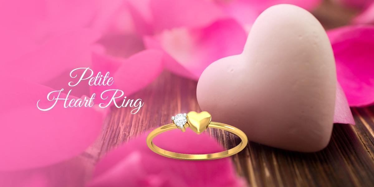petite heart diamond ring