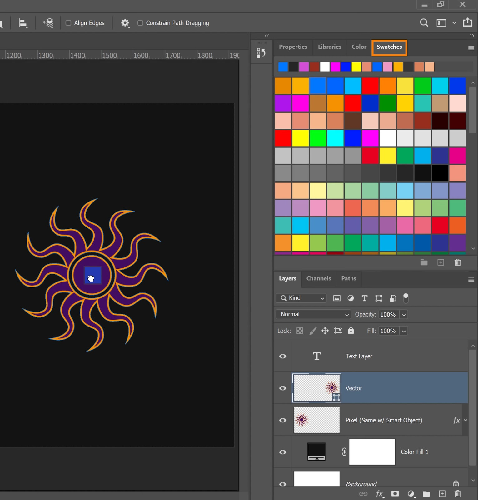 click-and-drag any color and drop it onto the vector shape