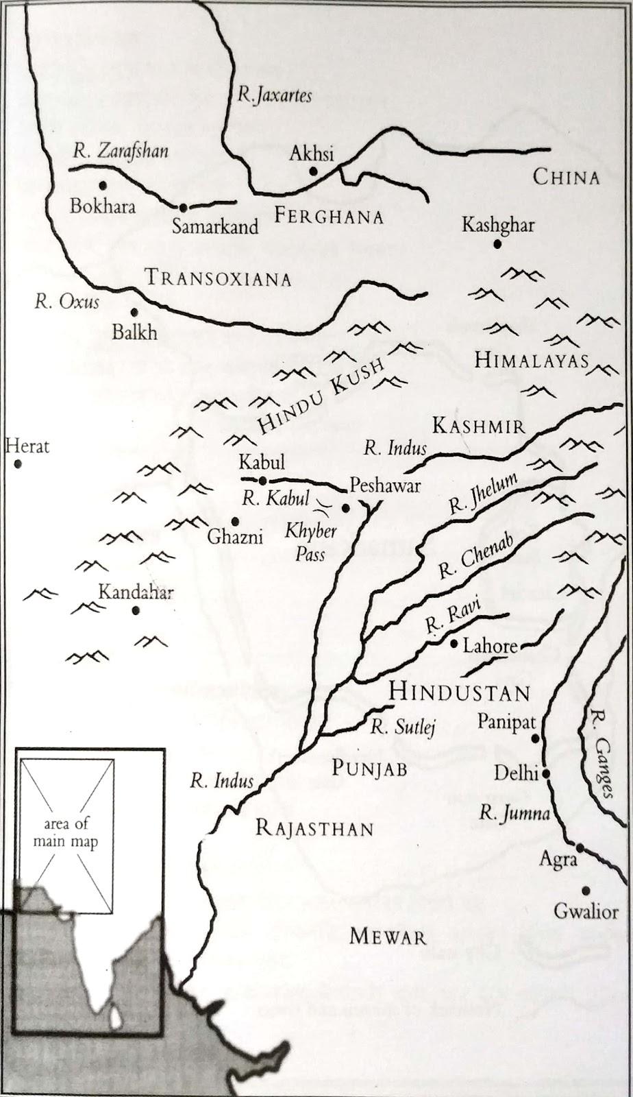 মধ্য এশিয়া এবং ভারতের মানচিত্র