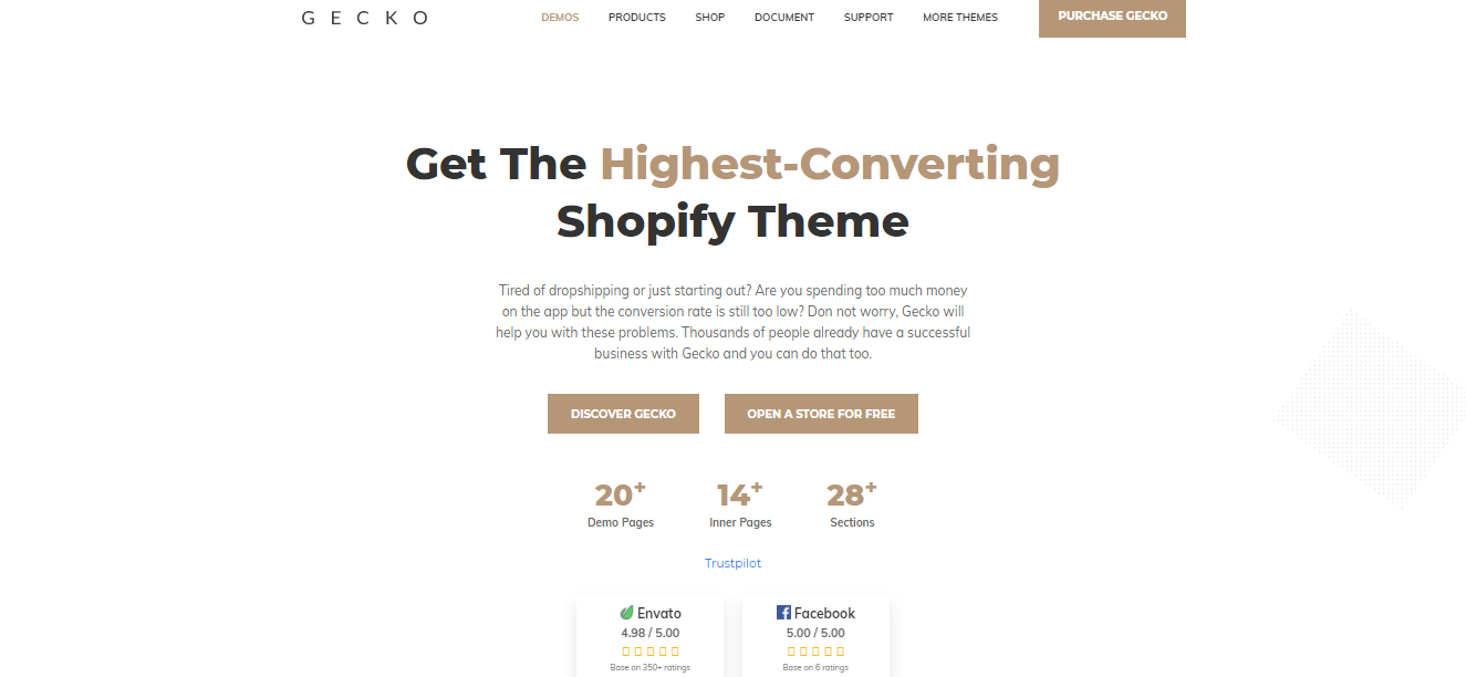 Gecko 5.0 - Best free shopify theme for dropshipping