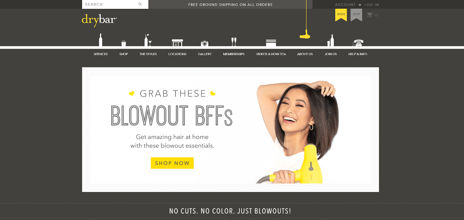 website with woman and hairdryer