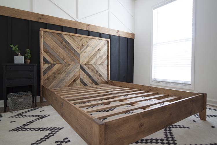 DIY Bed Frame Ideas with Wood Headboard