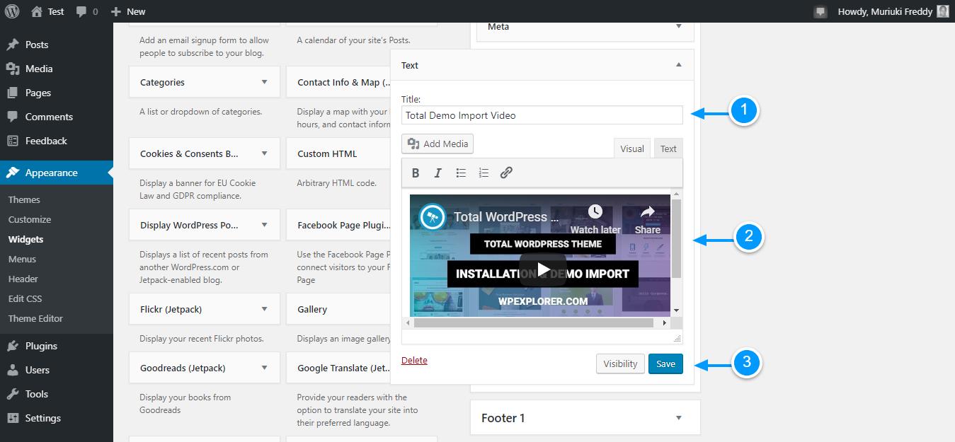 Add videos to wordpress through widgets