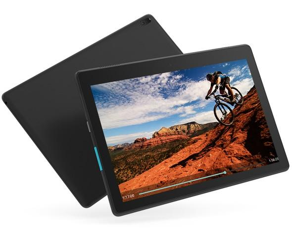 Lenovo Tab E10, front and back views, with video playing on display.