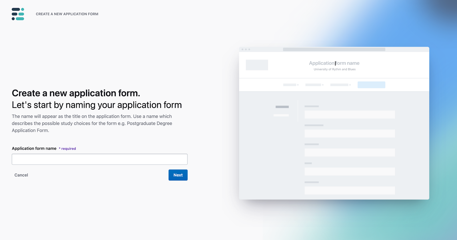 create new application form full fabric