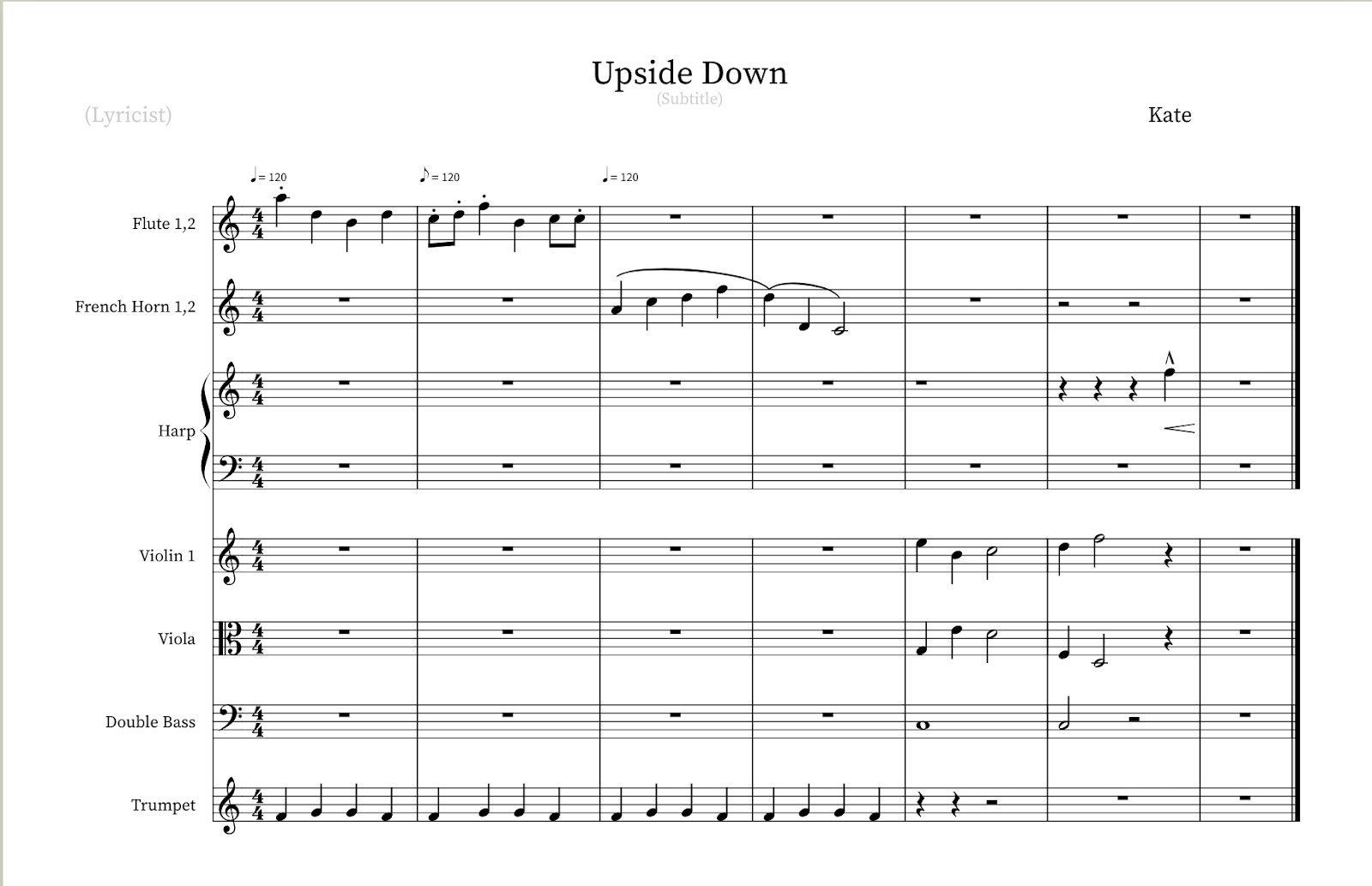 Collaborative students composition, created in Noteflight Learn