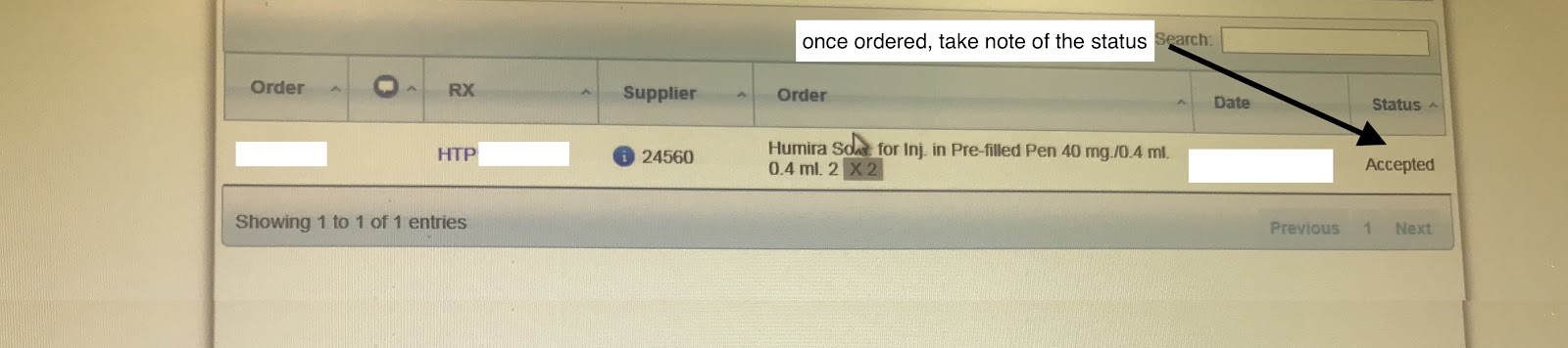 High Tech Medicine is ordered and the PCRS and the Supplier have accepted the order