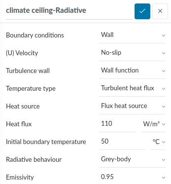 panels are modeled as walls that emit heat