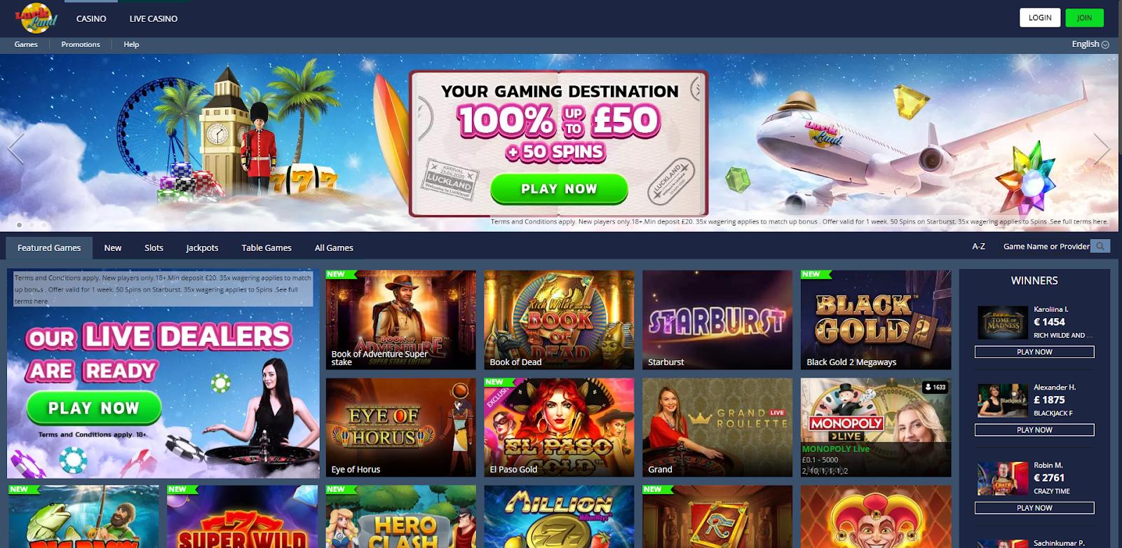 luck land casino homepage