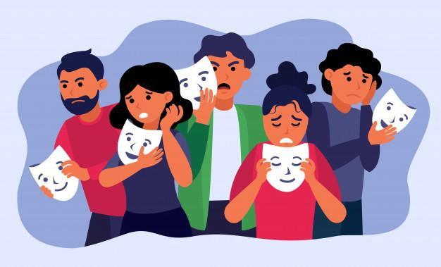 Personas deprimidas con mascarillas y ocultando emociones. | Vector Gratis