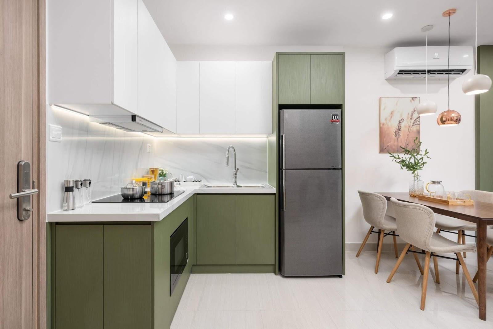 Tủ bếp gỗ MDF xanh rêu