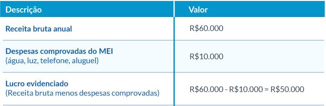 Como fazer um controle de gastos do MEI para declaração de imposto de renda, Receita bruta anual, despesas comprovadas do MEI e Lucro evidenciado.