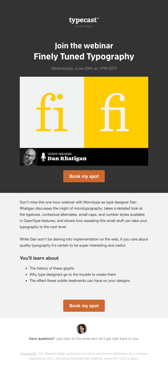 Typecast webinar event invitation email template
