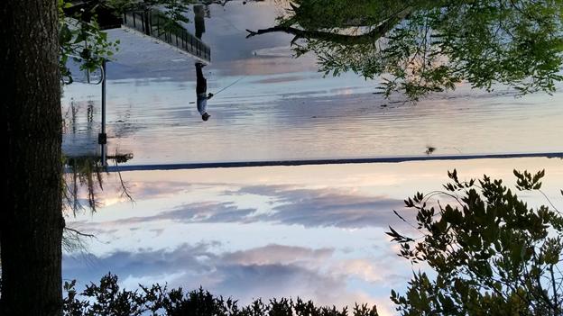 upside down image of man fishing