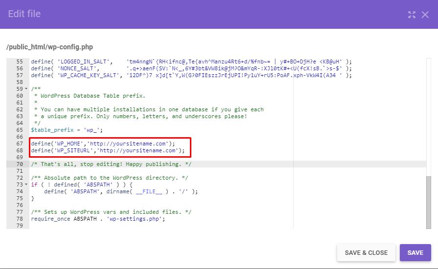 trecho de código inserido no arquivo .htaccess no gerenciador de arquivos do hpanel