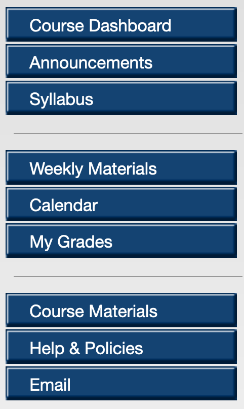 Image of Course Navigation in Blackboard with 12 links