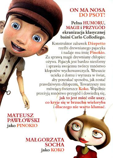 Tył ulotki filmu 'Pinokio'