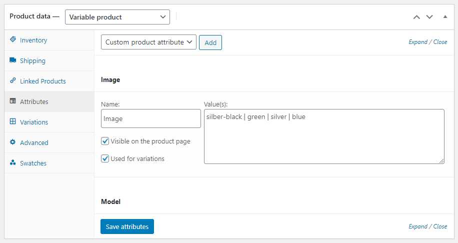 WooCommerce image attribute